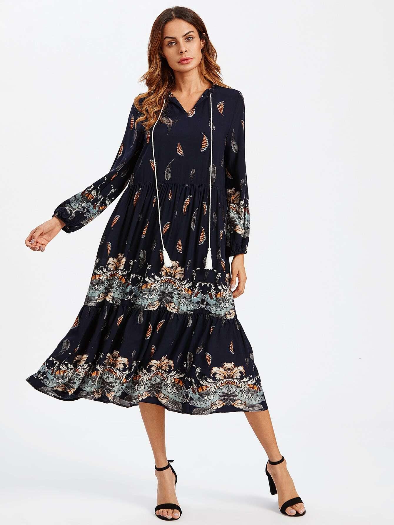 robe avec manche lanterne avec frange lacet du col french romwe. Black Bedroom Furniture Sets. Home Design Ideas
