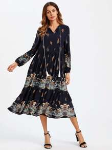Tassel Tie Neck Lantern Sleeve Smock Dress