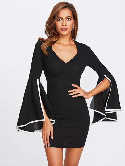Contrast Binding Split Trumpet Sleeve Dress