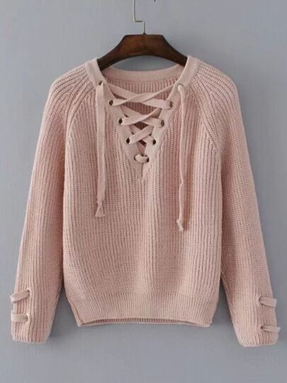 Lace Up V Neckline Raglan Sleeve Sweater