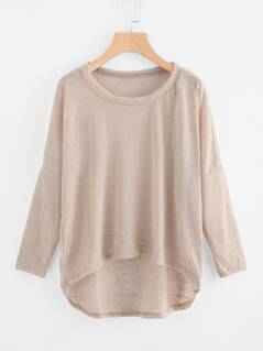 Drop Shoulder High Low Loose Knit Tee
