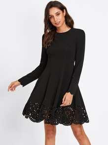 Scallop Laser Cut Hem Fit & Flare Dress