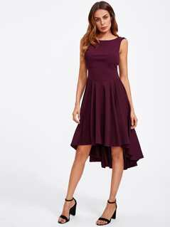 Cutout Shoulder Dip Hem Skater Dress