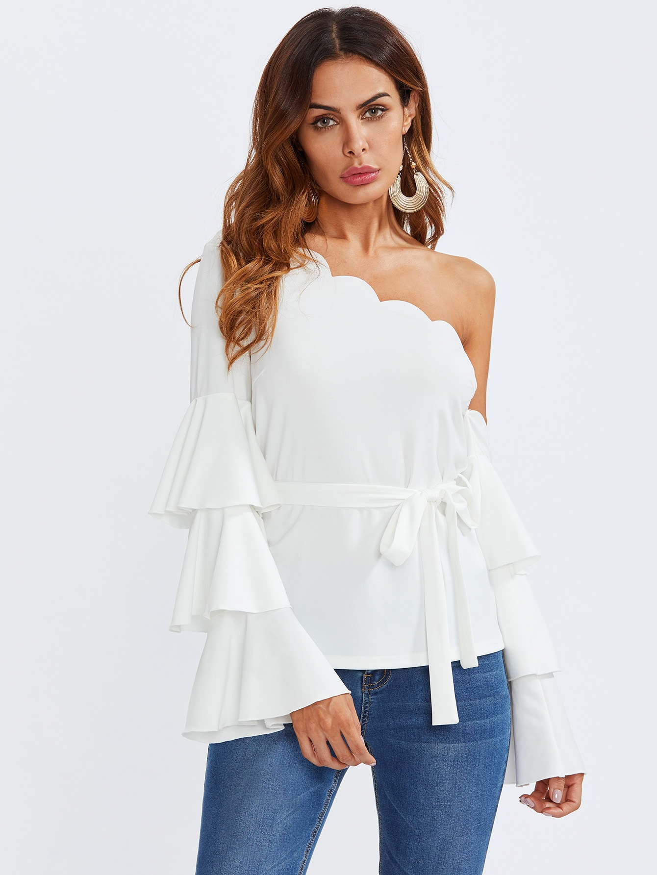 Tiered Trumpet Sleeve Scalloped One Shoulder Blouse elegant trumpet sleeve open back blouse
