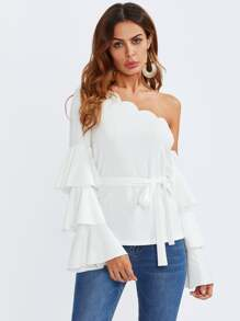 Tiered Trumpet Sleeve Scalloped One Shoulder Blouse