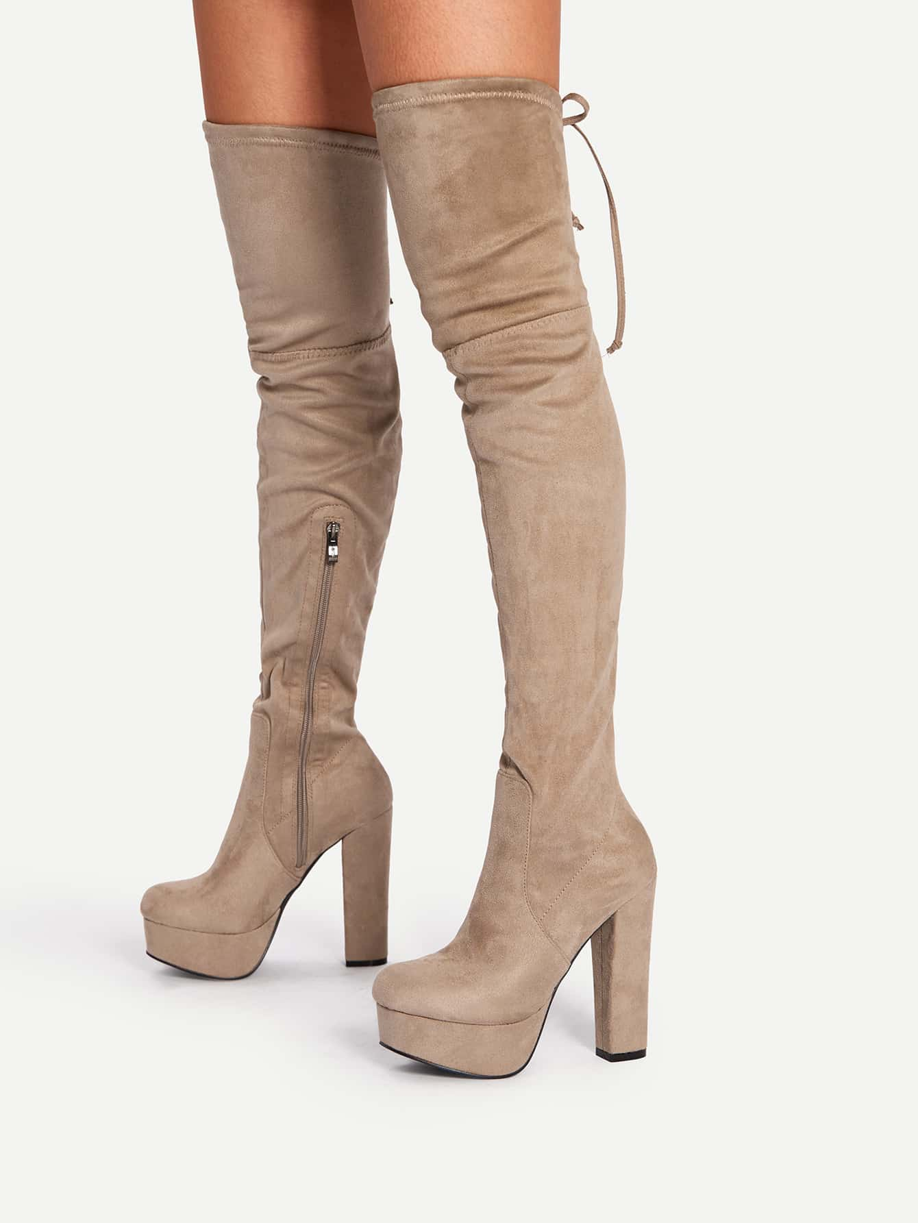 Tie Back Thigh High Heeled Boots 2018 winter thigh high boots women faux suede leather high heels over the knee botas mujer plus size shoes woman 34 43