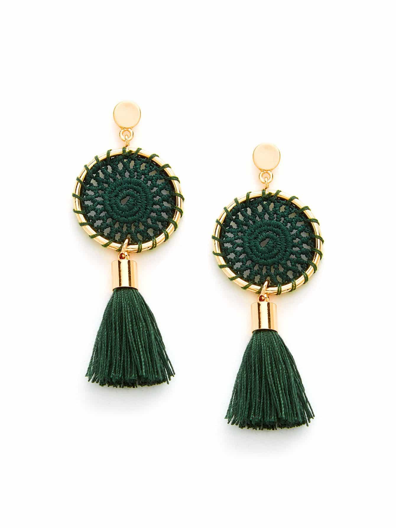 Knit Detail Tassel Drop Earrings tassel drop rhinestone detail earrings