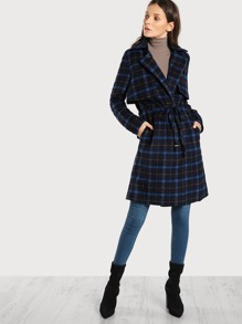 Plaid Soft Wool Longline Coat NAVY