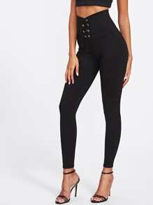 Empire Eyelet Lace Up Leggings