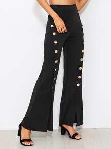 Pantalons divisé avec embellissement de bouton