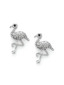 Rhinestone Decorated Flamingo Shaped Earrings