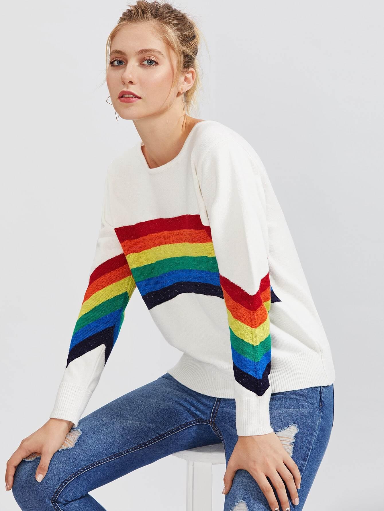 Striped Pattern Ribbed Hem Knitwear sweater170821213