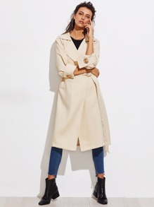 Metal Embellished Wrap Trench Coat With Belt
