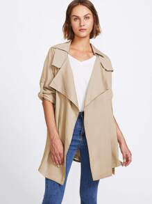 Roll Tab Sleeve Drape Collar Wrap Coat