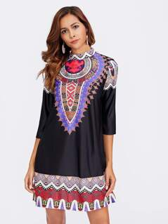 Ornate Print Mock Neck Dress