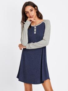 Contrast Raglan Sleeve Heather Knit Tee Dress
