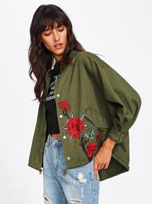 Embroidery Patch High Low Utility Jacket