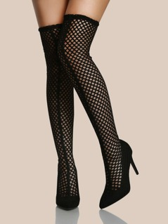 Fishnet Point Toe Thigh High Boots BLACK