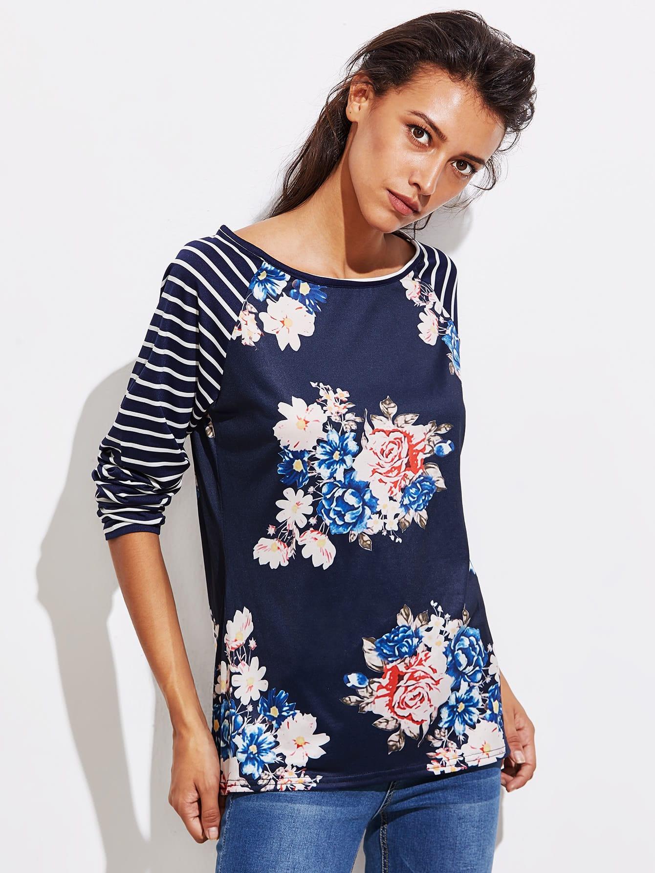 Stripe Raglan Sleeve Florals T-shirt stripe panel raglan sleeve t shirt