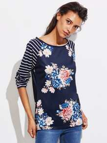 Stripe Raglan Sleeve Florals T-shirt
