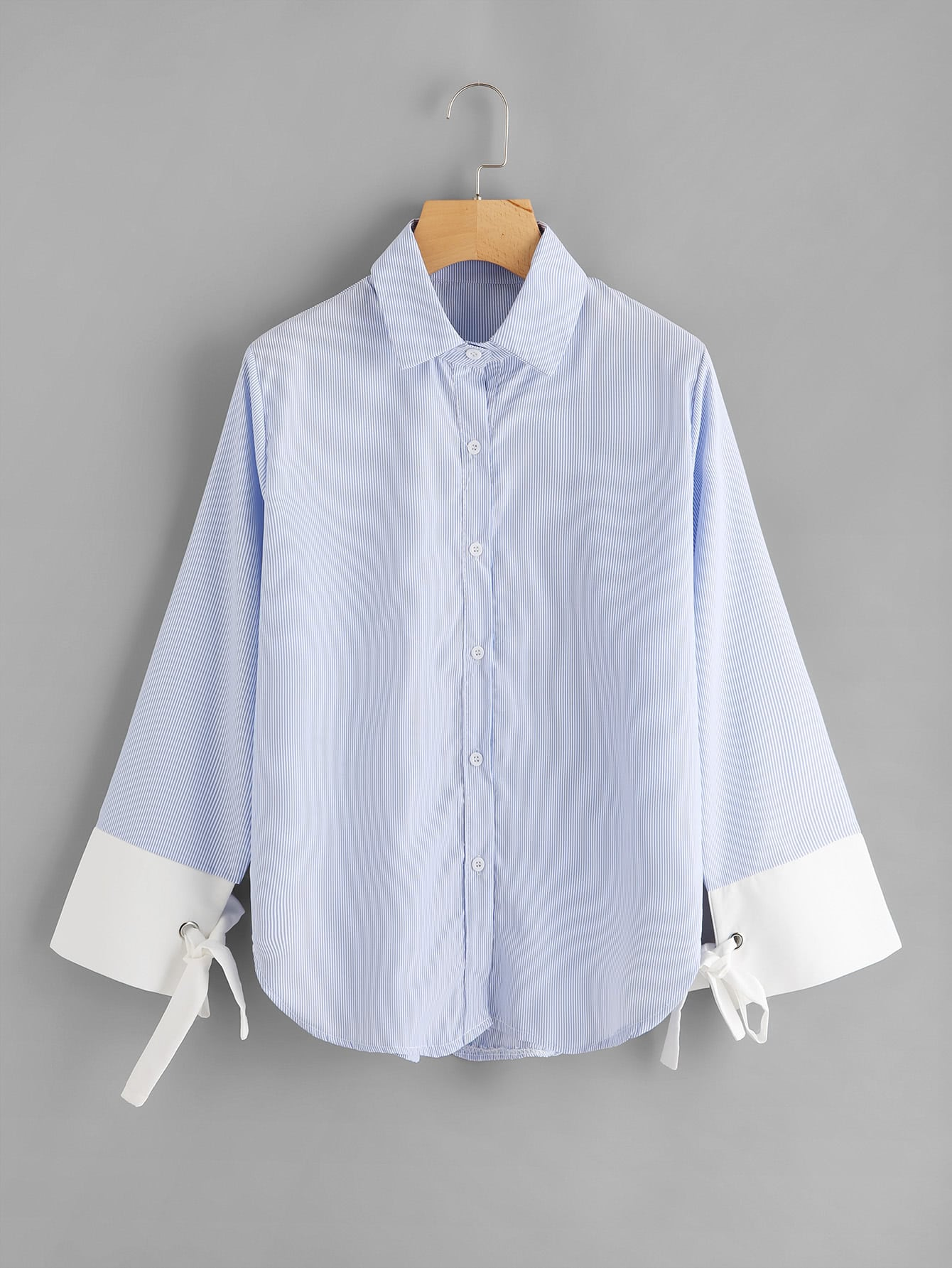 Contrast Striped Cuff Tie Detail Curved Hem Shirt striped curved hem shirt dress