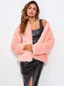 Hook And Eye Faux Fur Coat