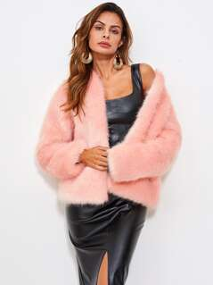 Hook And Eye Faux Fur Coat