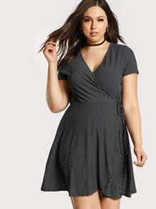 Striped Overlay Flowy Dress BLACK