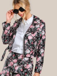 Studded Floral Faux Leather Biker Jacket