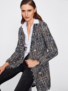 Blazer largo tweed de borde crudo