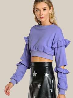 Elbow Slit Ruffle Crop Top Sweatshirt PERIWINKLE