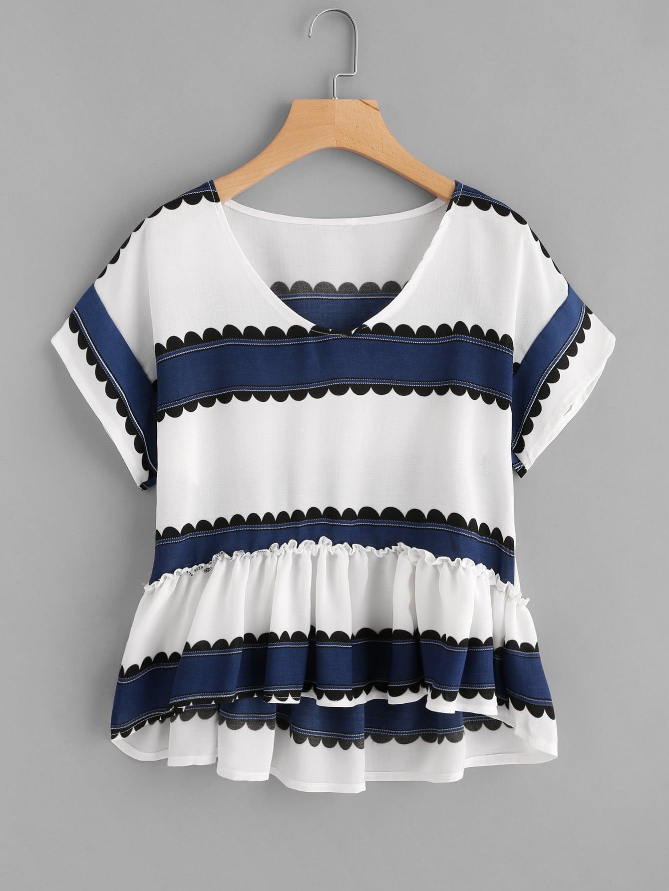 Купить Модная блуза с оборкой и принтом, null, SheIn