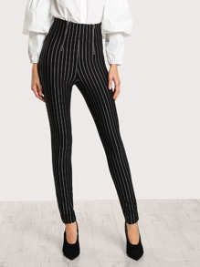 High Rise Pin Stripe Zip Up Pants BLACK