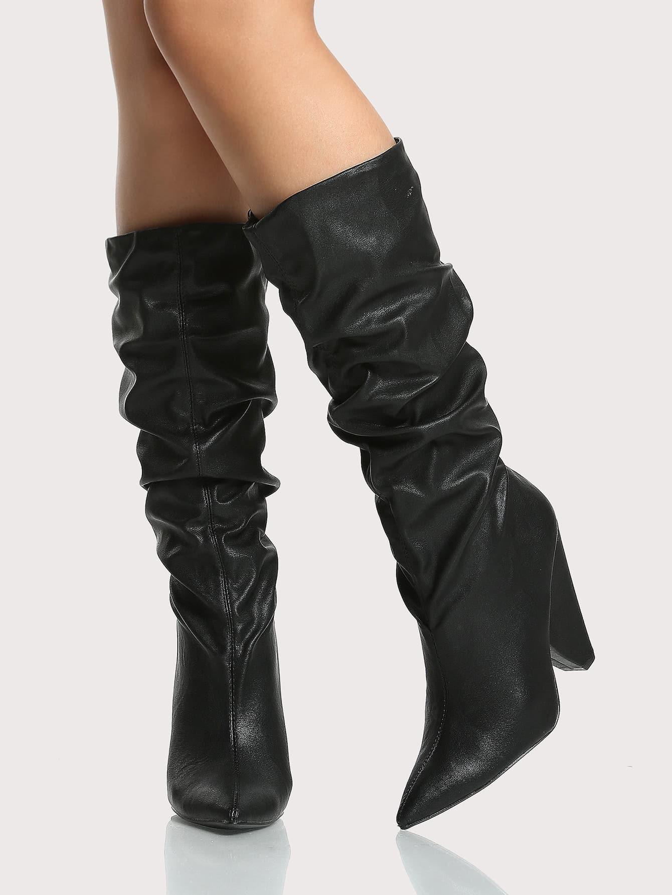 slouch triangle heel boots black shein sheinside