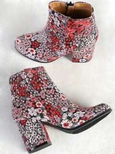 Floral Embroidered Zip Up Ankle Boot BLACK