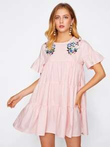 Flower Embroidered Trumpet Sleeve Tiered Dress