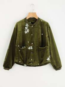 Flower Embroidered Velvet Jacket