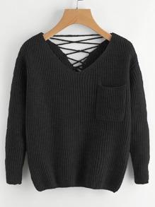 Pull tricoté avec lacet au dos avec deux V cols