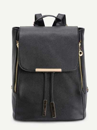 Metal Detail Double Zipper PU Backpack