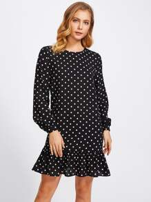 Lantern Sleeve Frill Trim Polka Dot Dress