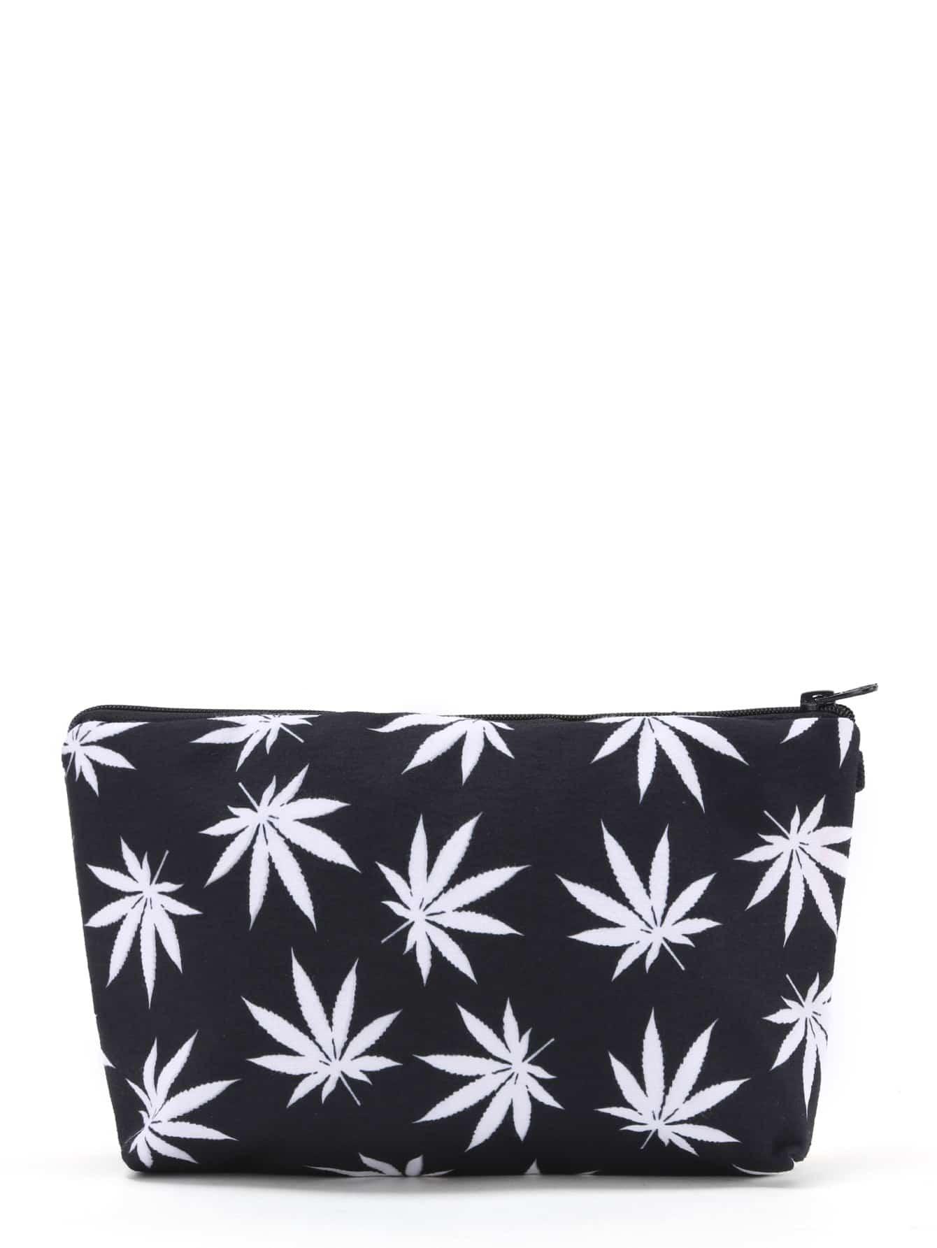 Maple Leaf Print Zipper Pouch