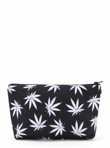 Maple Leaf Print Zipper Pouch