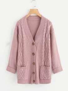 Mixed Knit Roll Cuff Sweater Coat