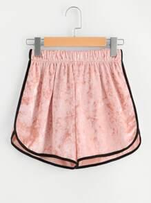 Contrast Trim Elastic Waist Velvet Shorts