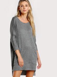 Front Pocket Drop Sleeve Dress GREY