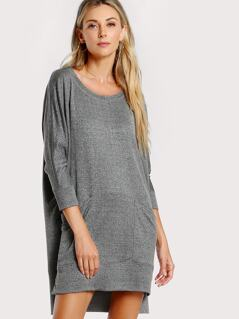 Front Pocket Drop Sleeve Dress GREY
