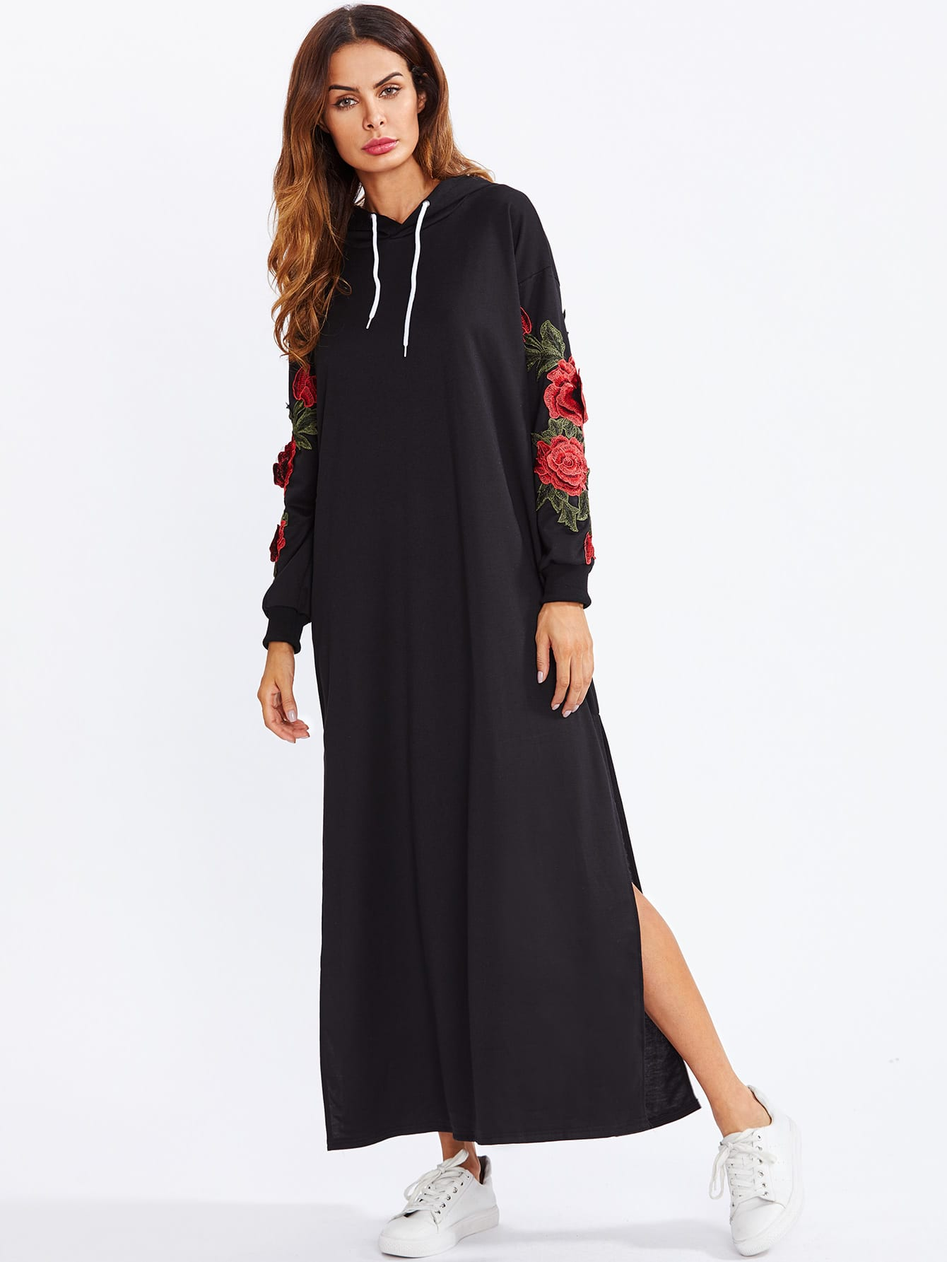 Split Side Applique Hooded Dress split side embroidered applique dress