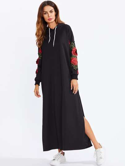 Split Side Applique Hooded Dress