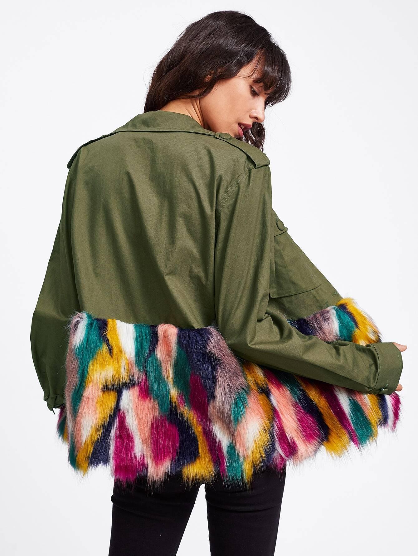 Colorful Faux Fur Trim Utility Jacket
