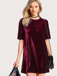 Crushed Velvet Tee Dress